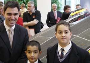 Cell Owners, Y4 Penleigh & Essendon Grammar School representatives Arthur Spathis (right), and Rachit Datta (centre) enjoy meeting Minister Holding