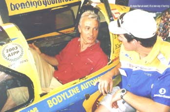 Peter Brock tries the race seat