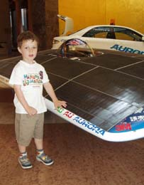 Five year old Noah demanded that Dad bring him to see the solar car