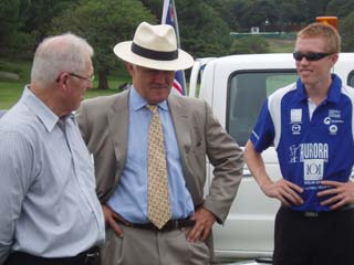 Ian Dyk explains the solar car to Federal politician Malcolm Turnbull