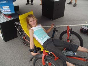 10 year old Gabrielle tries a recumbent